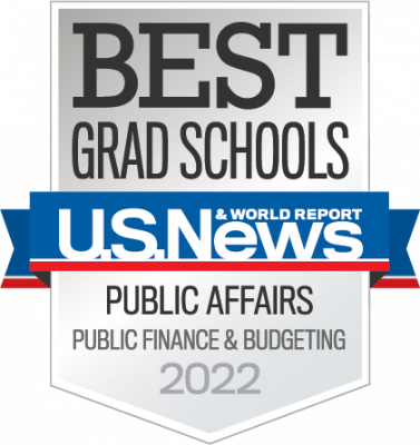 US News and World Report badge for Best Grad Schools in Public Affairs, Public Finance & Budgeting, for 2022