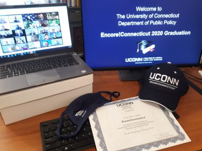 Welcome to the University of Connecticut Department of Public Policy Encore!Connecticut 2020 Graduation, Zoom call with graduates, Encore!Connecticut hat and graduation certificate, DPP face mask