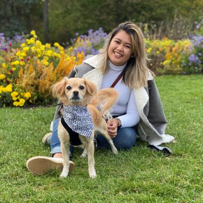 Alexandra Garcia with her dog