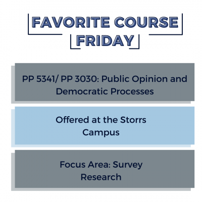 """Graphic with title """"Favorite Course Friday"""" with three boxes below it that read: PP 5341/ PP 3030: Public Opinion and Democratic Processes, Offered at the Storrs Campus, Focus Area: Survey Research."""